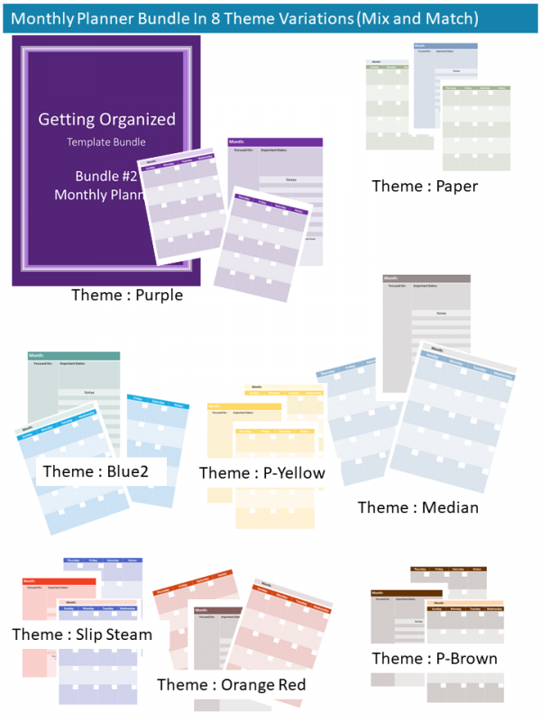 Monthly Planner Template Variatiions